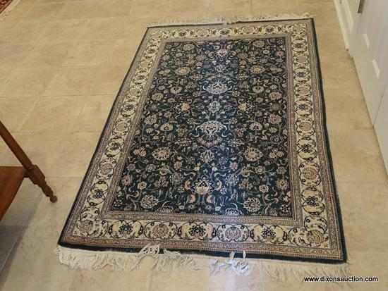 (FOYER) RUG; HANDMADE ORIENTAL SILKY BAKHAR RUG IN GREEN AND IVORY FLORAL PATTERN- 48 IN X 78 IN