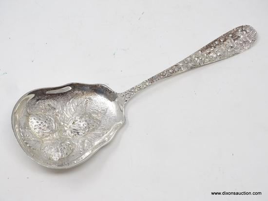 "STIEFF STERLING REPOUSSE SERVING SPOON; MEASURES APPROX. 8"" LONG. WEIGHS APPROX. 3 TROY OZ."