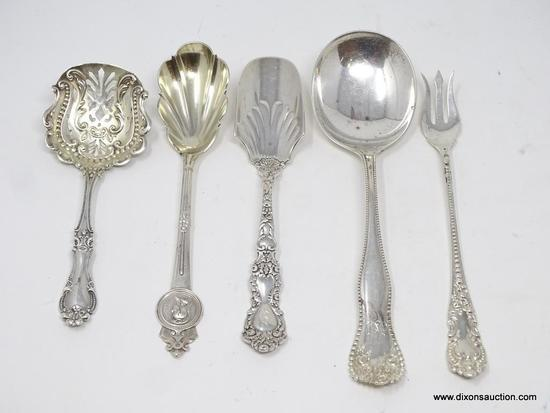 LOT OF (5) MISC. STERLING SILVER FLATWARE PIECES; VARIOUS DIFFERENT MAKERS. TOTAL WEIGHT OF THE LOT