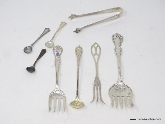 LOT OF (8) MISC. STERLING SILVER FLATWARE PIECES; VARIOUS DIFFERENT MAKERS. TOTAL WEIGHT OF THE LOT