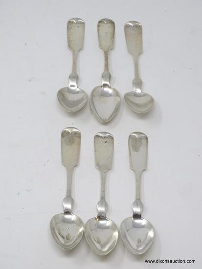 "(6) W&H STERLING FIDDLETHREAD PATTERN SPOONS. THEY MEASURE 5-1/2"" LONG. THE TOTAL WEIGHT OF THE LOT"