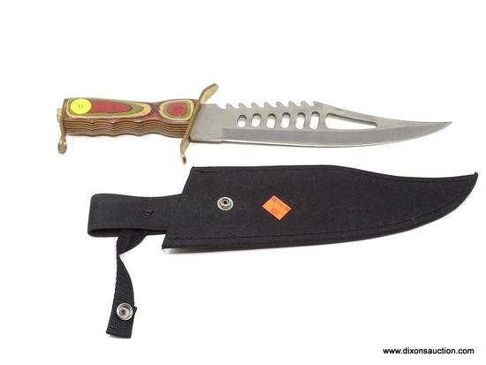 FROST CUTLERY SURGICAL STEEL BOWIE KNIFE; MUSSO STYLE BOWIE KNIFE WITH A RAINBOW WOOD HANDLE. COMES