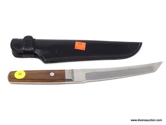 LARGE POCKET KNIFE; LARGE PAKISTAN POCKET KNIFE IN A BLACK LEATHER SHEATH. MEASURES 12 IN.
