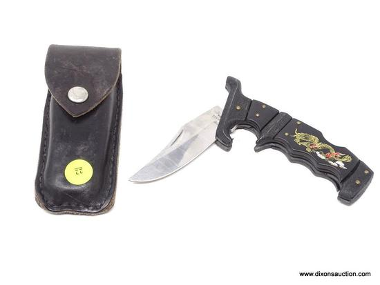 TRAILING POINT POCKET KNIFE; TRAILING POINT STAINLESS CHINA POCKET KNIFE WITH A GOLD TONE DRAGON