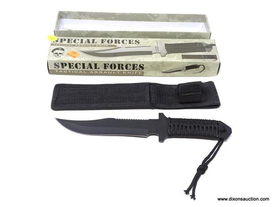 SPECIAL FORCES TACTICAL ASSAULT KNIFE; SPECIAL FORCES STAINLESS STEEL ASSAULT KNIFE WITH SAWBACK