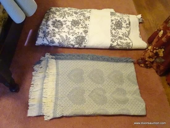 (BR) LOT OF COMFORTER AND BLANKET; 2 PIECE LOT TO INCLUDE A GRAY AND WHITE FLORAL PATTERN 100%