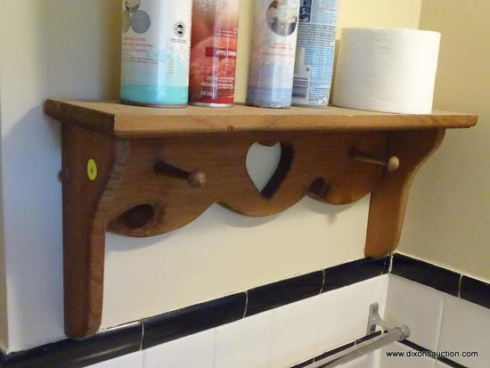 (DBATH1) WOODEN BATHROOM WALL SHELF; WOODEN SHELF WITH A TOP SHELF AND 2 TOWEL HOOKS WITH A HEART