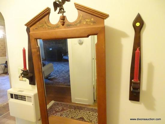 (HALL) LOT OF WALL CANDLE HOLDERS; 2 PIECE LOT OF MATCHING WOODEN CANDLE STICK HOLDERS WITH AN ARROW