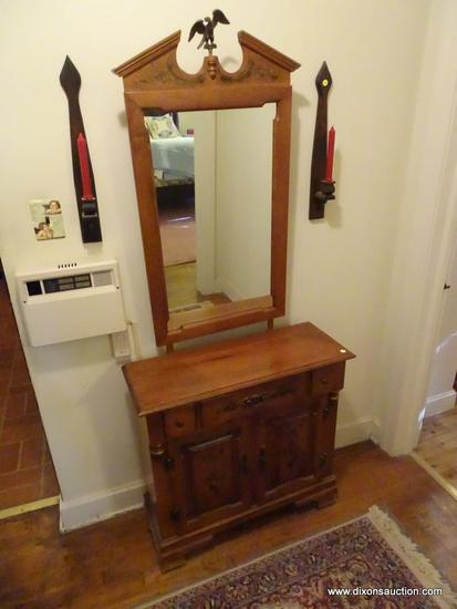 (HALL) YOUNG REPUBLIC MAPLE DRESSER WITH VANITY; VINTAGE HARD ROCK MAPLE WOOD DRESSER WITH ATTACHED