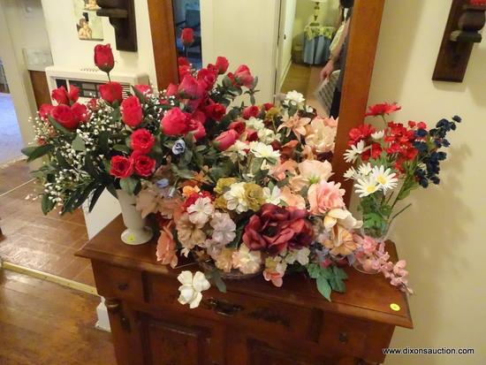 (HALL) LOT OF DECORATIVE FAKE FLOWERS; 3 PIECE LOT TO INCLUDE A ROSE ARRANGEMENT WITH FAKE DEW ON