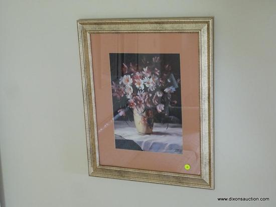 (FAM) FLOWER STILL PORTRAIT; FRAMED STILL PORTRAIT OF FLOWERS IN A VASE ON A WHITE TABLE CLOTH.