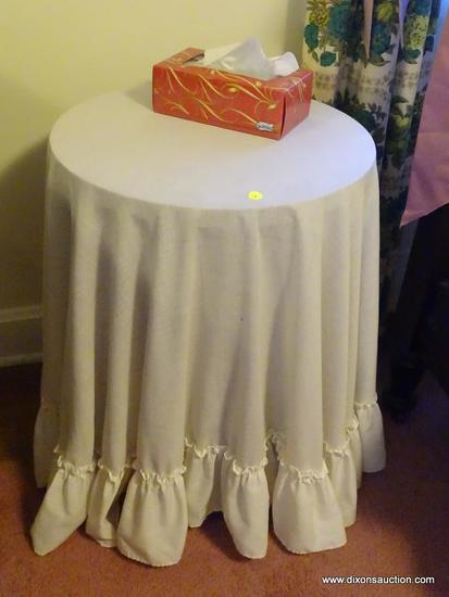 (BR) LOT OF ROUND END TABLES; 3 PIECE LOT OF ROUND END TABLES TO INCLUDE A DIY CARDBOARD TABLE AND 2