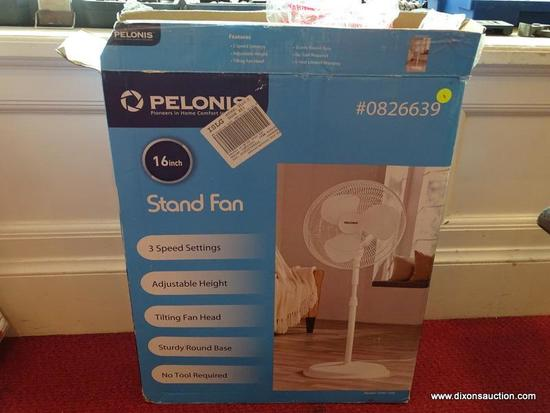 PELONIS 16'' STAND FAN, ALL FAN PIECES ARE IN THE BOX, BOX HAS BEEN OPENED.