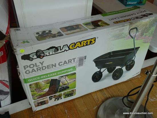 GORILLA CARTS POLY GARDEN CART WITH QUICK RELEASE DUMPING, NEW IN BOX, BOX HAS SOME EXTERIOR DAMAGE