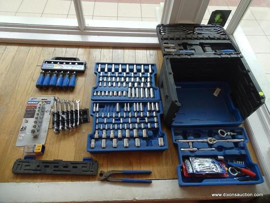 KOBALT 4 DRAWER SOCKET+WRENCH SET, APPROX. 140 PIECES INCLUDING WRENCHES SOCKETS, ALLEN KEYS, AND