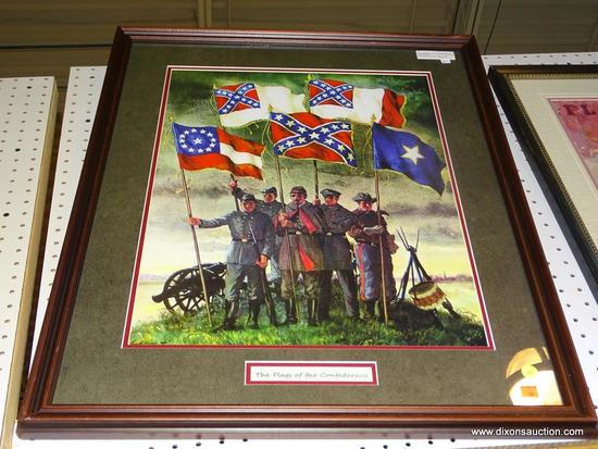 "FRAMED SOLDIER PRINT; ""THE FLAGS OF THE CONFEDERACY"" PRINT OF CONFEDERATE SOLDIERS STANDING NEXT TO"