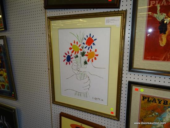 "SILK SCREEN PICASSO PRINT; ""HAND WITH BOUQUET PABLO PICASSO SILKSCREEN PRINT. DOUBLE MATTED IN A"