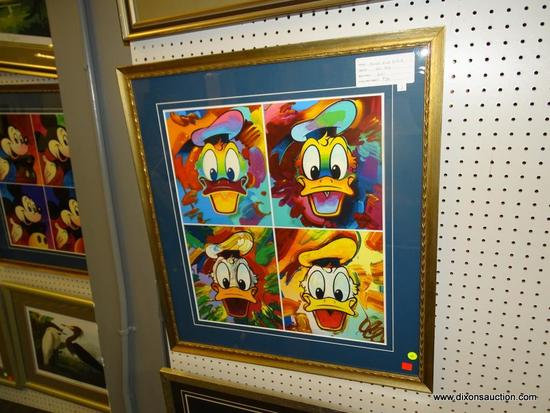 FRAMED DONALD DUCK PRINTS; PETER MAX'S DONALD DUCK SUITE OF 4. MATTED IN BLUE AND FRAMED IN A WOODEN