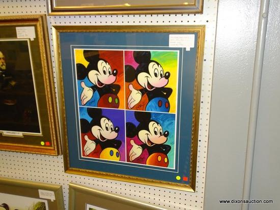 FRAMED MICKEY MOUSE PRINTS; PETER MAX'S MICKEY MOUSE SUITE OF 4. MATTED IN BLUE AND FRAMED IN A
