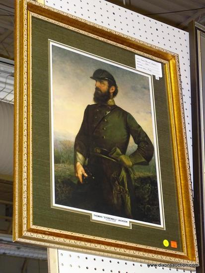 "FRAMED CIVIL WAR PRINT; THOMAS ""STONEWALL"" JACKSON FRAMED PRINT BY JOHN A. ELDER. HAS THE TITLE AND"