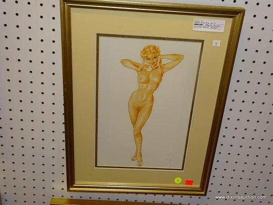 PIN UP GIRL PRINT; ALBERTO VARGAS PIN UP GIRL PRINT OF A NUDE WOMAN TALKING ON THE PHONE. SIGNED BY