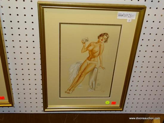 PIN UP GIRL PRINT; ALBERTO VARGAS PIN UP GIRL PRINT OF A TOPLESS WOMAN SITTING ON CHEST WITH HER
