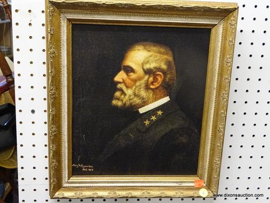 ANTIQUE OIL ON CANVAS; ANTIQUE FRAMED OIL ON CANVAS PAINTING OF AN ARMY GENERAL IN UNIFORM. SIGNED