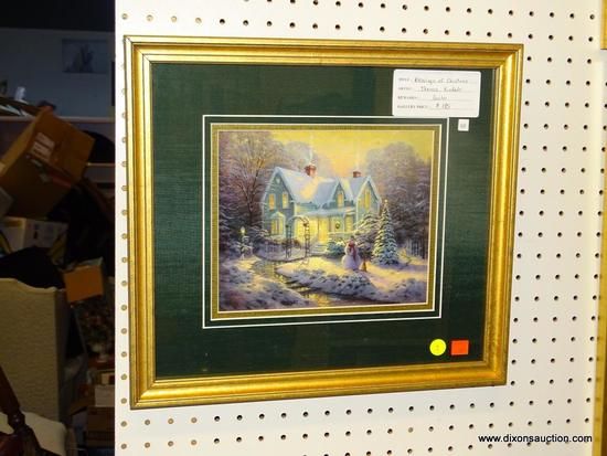 "FRAMED CHRISTMAS PRINT; ""BLESSINGS OF CHRISTMAS"" PRINT BY THOMAS KINKADE OF A HOME IN THE MIDDLE OF"