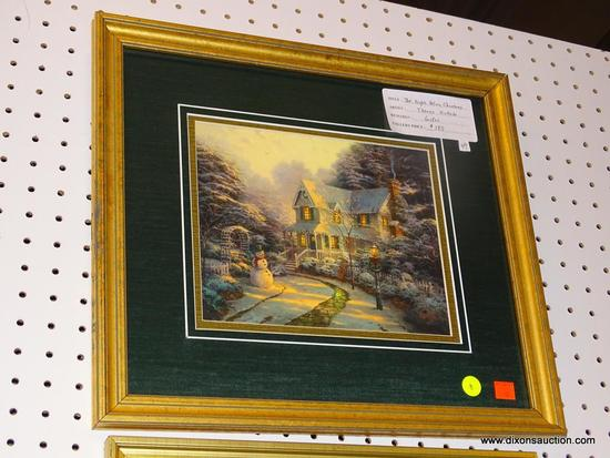 "FRAMED CHRISTMAS PRINT; ""THE NIGHT BEFORE CHRISTMAS"" PRINT BY THOMAS KINKADE OF A HOME IN THE MIDDLE"