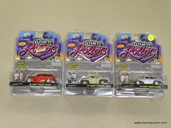 LOT OF HOMIE ROLLERZ CARS; 3 PIECE LOT OF JADA TOYS HOMIE ROLLERZ CARS WITH A FREE STICKER AND 2