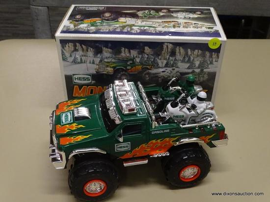 HESS MONSTER TRUCK WITH MOTORCYCLES; HESS 2007 MONSTER TRUCK WITH MOTORCYCLES THAT HAVE REAL HAD AND