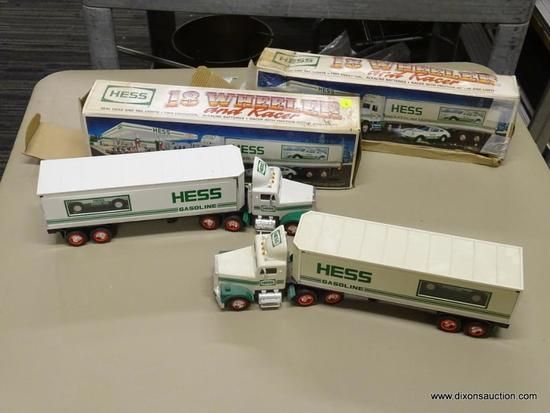 PAIR OF HESS 18 WHEELER AND RACER; 2 PIECE LOT OF HESS 1992 18 WHEELER WITH RACER, REAL HEAD AND