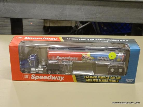 SPEEDWAY FUEL TANKER; SPEEDWAY MACK PINNACLE DAY CAB WITH FUEL TANKER TRAILER WITH A DIECAST METAL