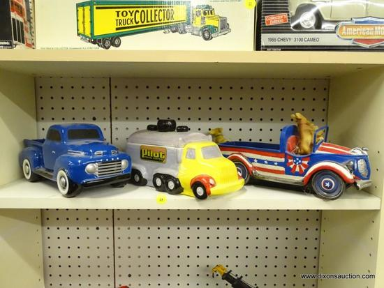 LOT OF ASSORTED MODEL TRUCKS; 3 PIECE LOT TO INCLUDE A TELEFLORA BLUE FORD CERAMIC TRUCK, A CERAMIC