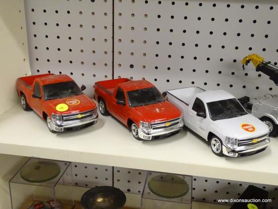 LOT OF CHEVY MODEL TRUCKS; 3 PIECE LOT OF 2012 CHEVY SILVERADO MODEL TRUCKS WITH SOUND EFFECTS, HEAD