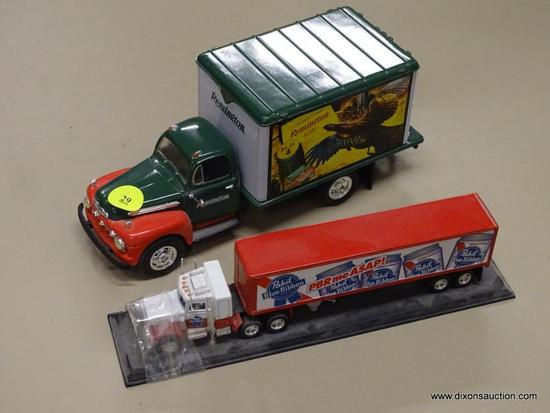 LOT OF MODEL TRUCKS; 2 PIECE LOT OF MODEL TRUCKS TO INCLUDE A REMINGTON REPLICA 1951 FORD AND A