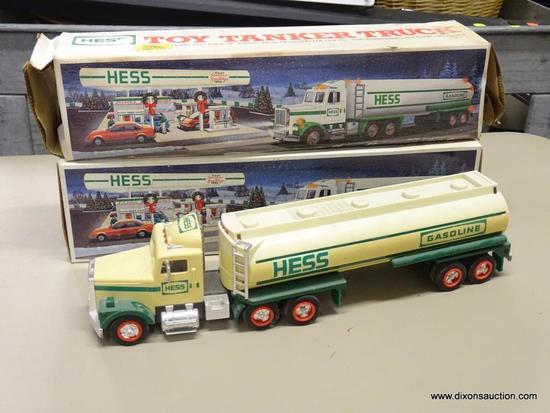 PAIR OF HESS TOY TANKER TRUCKS; 2 PIECE LOT OF HESS 1990 TOY TANKER TRUCKERS WITH DUAL SOUND SWITCH,