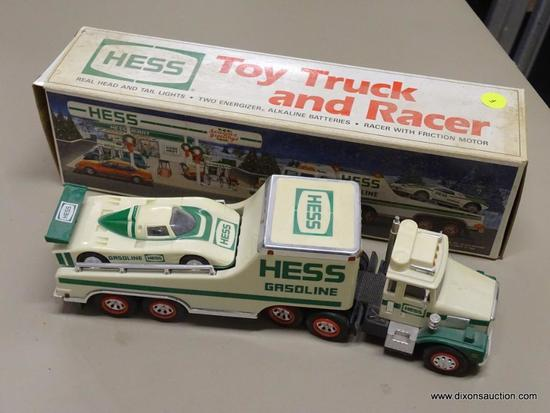 HESS TOY TRUCK AND RACER; HESS 1991 TOY TRUCK AND RACER WITH REAL HEAD AND TAIL LIGHTS AND A RACER