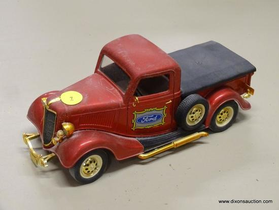 FORD V8 MODEL TRUCK; SOLIDO 1936 FORD MODEL PICKUP TRUCK WITH A RED, BLACK AND GOLD TONE FINISH.