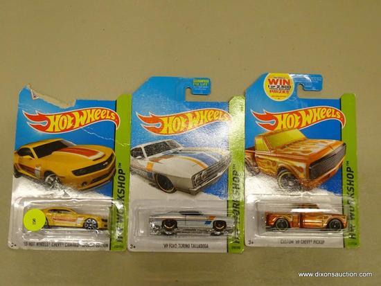 LOT OF HOT WHEELS CARS; 3 PIECE LOT OF HOT WHEELS WORKSHOP CARS TO INCLUDE '13 HOT WHEELS CHEVY