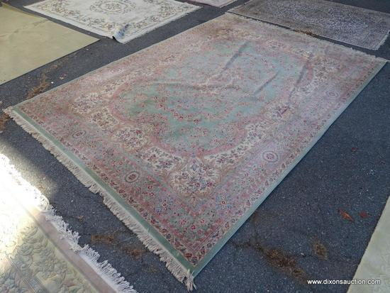 PALACE RUG; BEAUTIFUL HAND KNOTTED FLORAL PALACE RUG IN HUES OF MINT GREEN, CREAM, BLUE AND PINK.