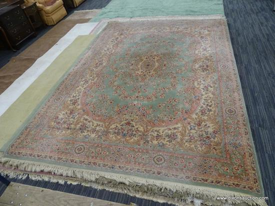 HAND KNOTTED AREA RUG; BEAUTIFUL HAND KNOTTED FLORAL RUG IN HUES OF MINT GREEN, CREAM, BLUE AND
