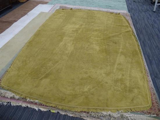 HAND KNOTTED AREA RUG; TAN HAND KNOTTED RUG WITH FRINGE DETAILING ALONG EACH SIDE. MEASURES APPROX.