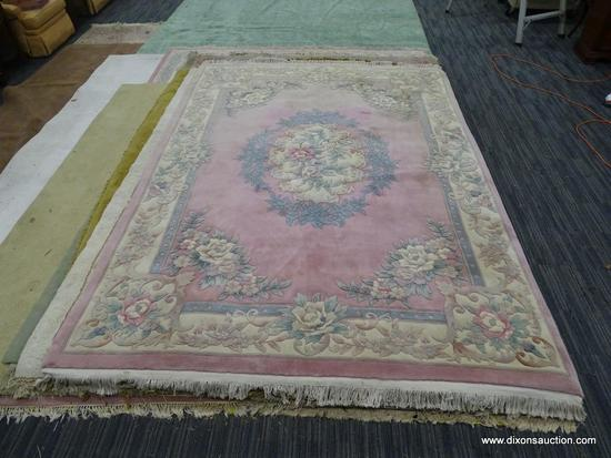 SCULPTED AREA RUG; PINK AND BLUE SCULPTED FLORAL RUG WITH BLUE FLORAL RING AROUND THE CENTER