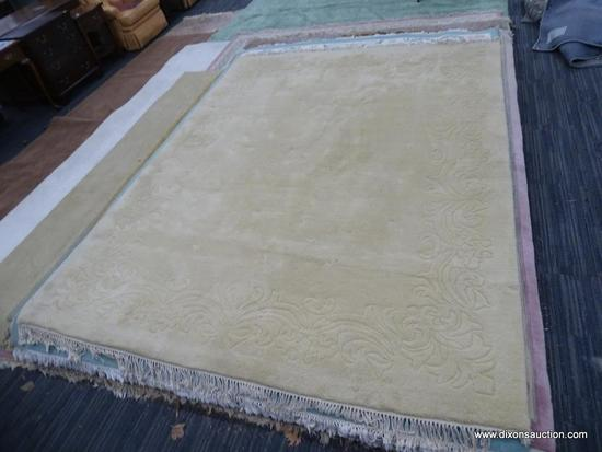 HAND WOVEN RUG; 100% VIRGIN WOOL PILE CHAMPAGNE COLORED GENUINE JINJAK RUG. HAND WOVEN IN INDIA. HAS