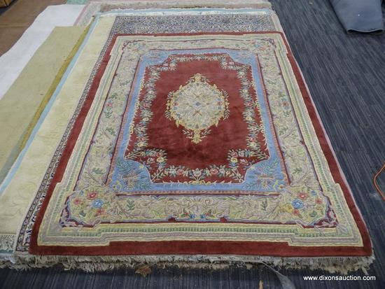 """CAPEL SCULPTED AREA RUG; """"EDEN"""" 100% SEMI-WORST PILE RED AREA RUG WITH FLORAL ENTER MEDALLION AND"""