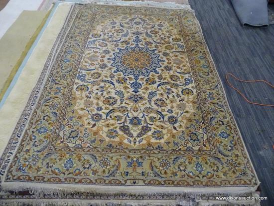 HAND KNOTTED AREA RUG; NEUTRAL TONE FLORAL AREA RUG IN CREAM, AND TAN WITH BLUE, ORANGE AND BROWN