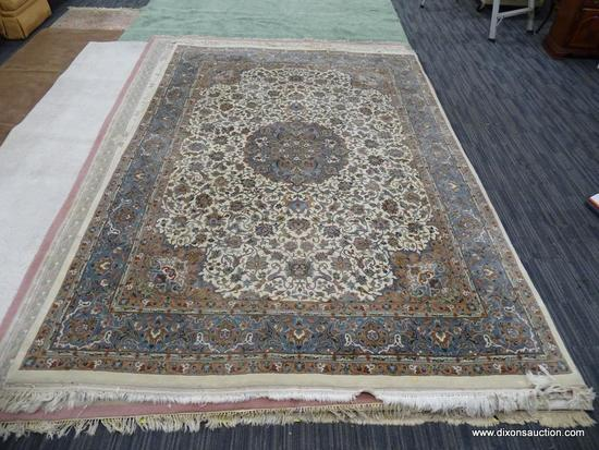 HAND KNOTTED AREA RUG; CREAM, TAN, LIGHT BROWN, AND BLUE NEUTRAL TONE AREA RUG WITH FLORAL CENTER