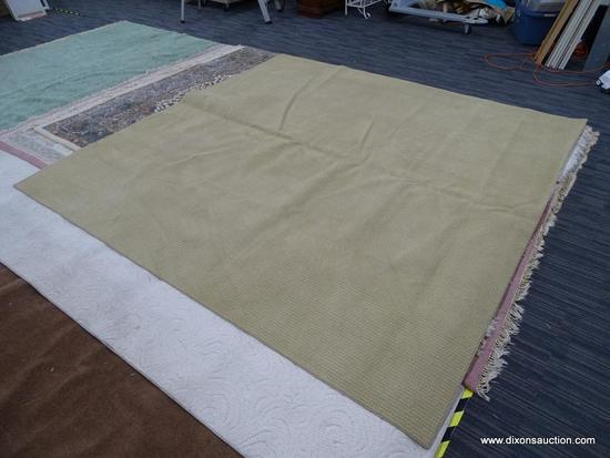 SQUARE AREA RUG; TAN MEDIUM PILE MACHINE MADE AREA RUG. DOES HAVE SOME SPOTTING. MEASURES
