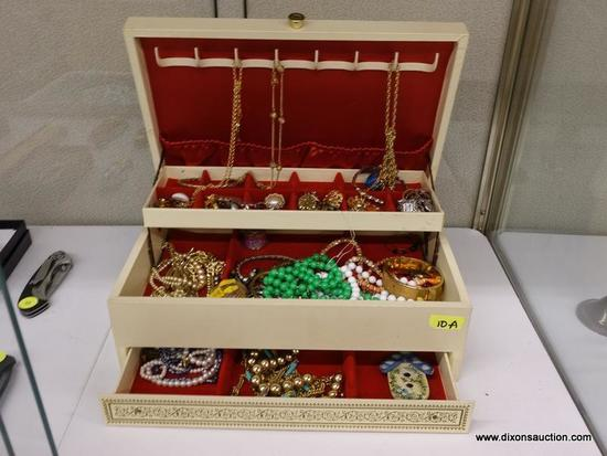 (SHOW) JEWELRY BOX AND CONTENTS; LIFT TOP JEWELRY BOX WITH HOOKS FOR HANGING ON THE LID, A SMALLER